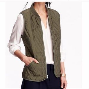 Olive Green Ribbed Collar Quilted Puffer Vest Sm